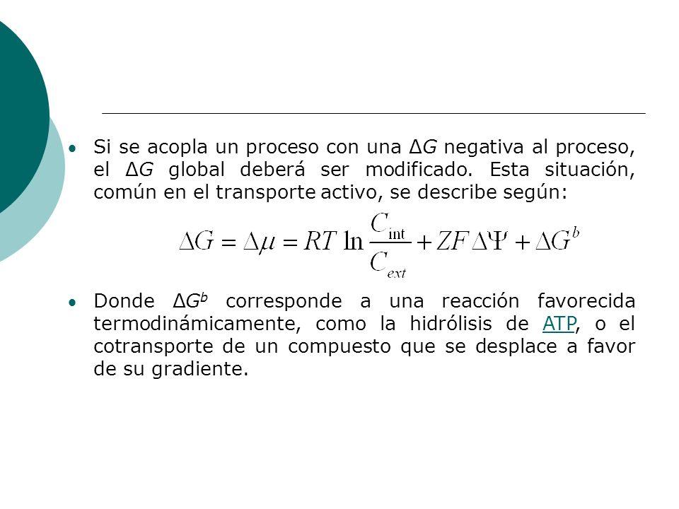Si se acopla un proceso con una ΔG negativa al proceso, el ΔG global deberá ser modificado. Esta situación, común en el transporte activo, se describe