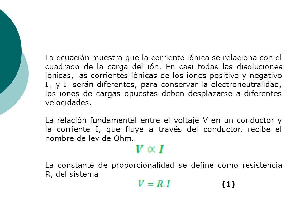 La ecuación muestra que la corriente iónica se relaciona con el cuadrado de la carga del ión. En casi todas las disoluciones iónicas, las corrientes i