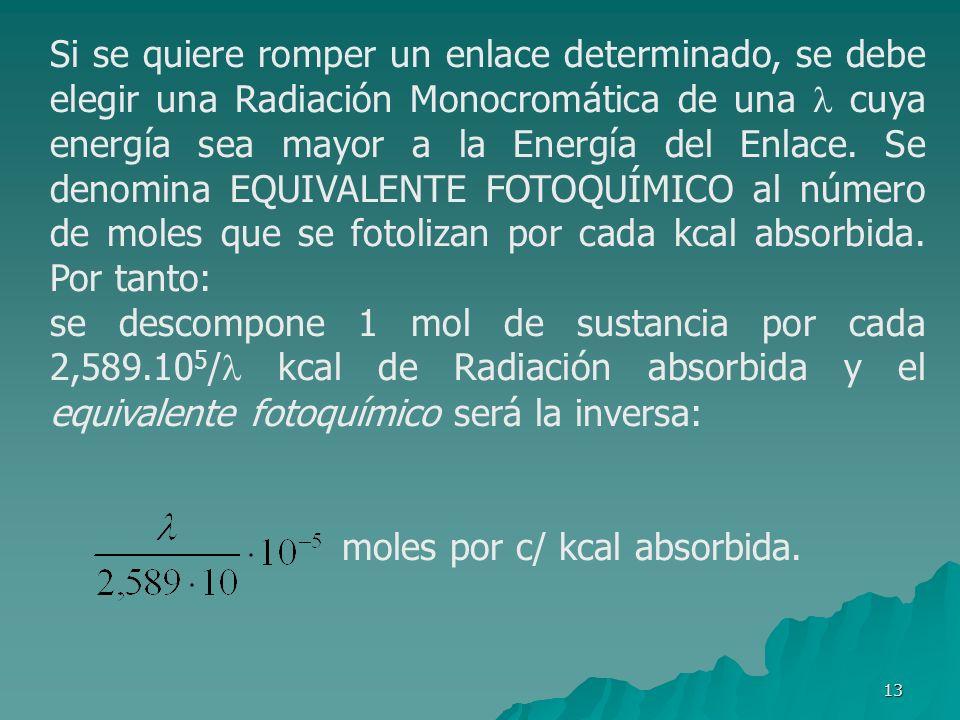 13 Si se quiere romper un enlace determinado, se debe elegir una Radiación Monocromática de una cuya energía sea mayor a la Energía del Enlace. Se den