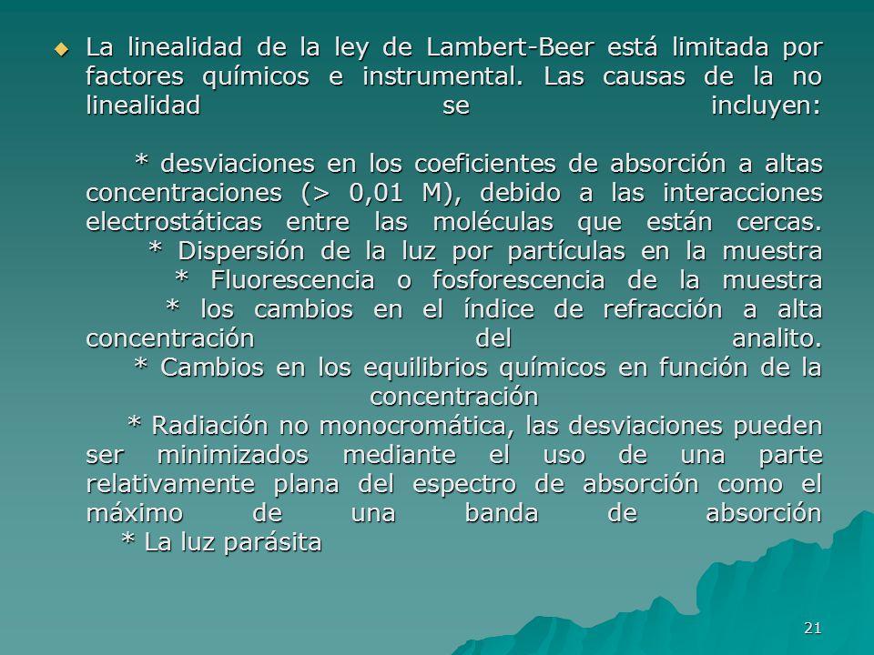La linealidad de la ley de Lambert-Beer está limitada por factores químicos e instrumental. Las causas de la no linealidad se incluyen: * desviaciones