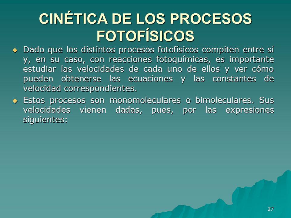 CINÉTlCA DE LOS PROCESOS FOTOFÍSICOS Dado que los distintos procesos fotofísicos compiten entre sí y, en su caso, con reacciones fotoquímicas, es impo