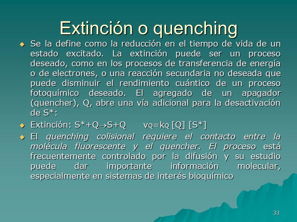 Extinción o quenching Se la define como la reducción en el tiempo de vida de un estado excitado. La extinción puede ser un proceso deseado, como en lo