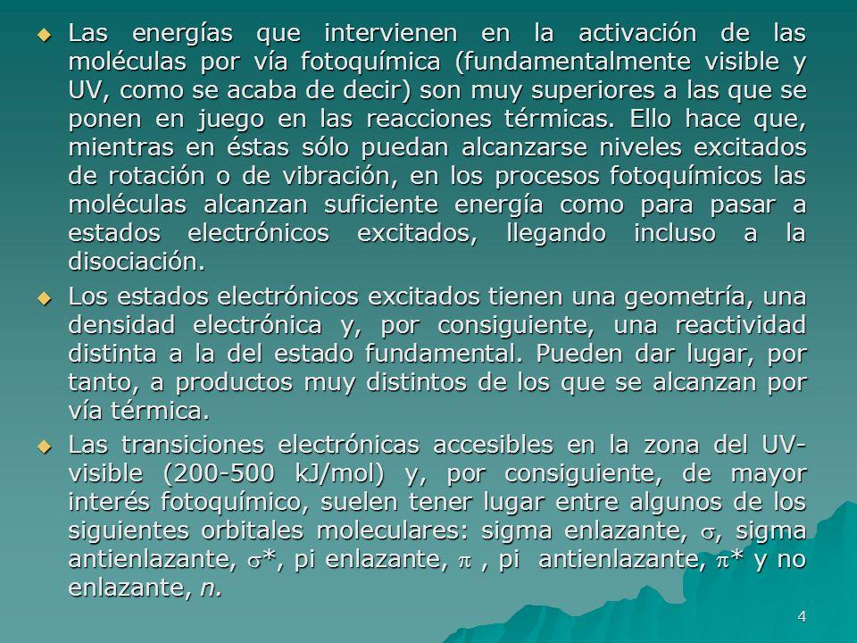 Las energías que intervienen en la activación de las moléculas por vía fotoquímica (fundamentalmente visible y UV, como se acaba de decir) son muy sup