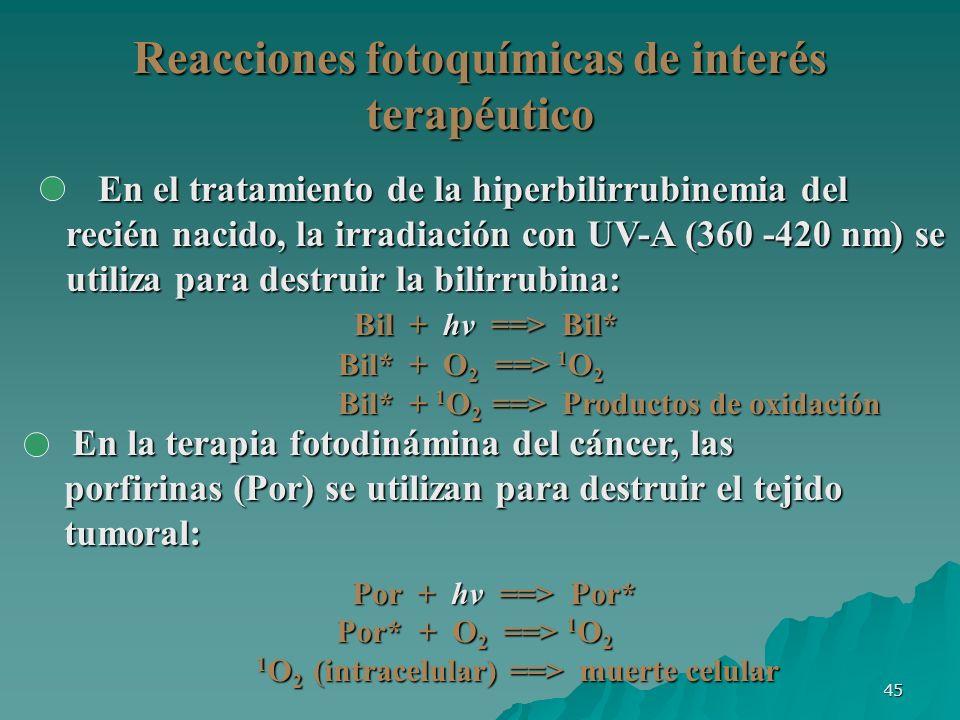 45 Reacciones fotoquímicas de interés terapéutico En la terapia fotodinámina del cáncer, las porfirinas (Por) se utilizan para destruir el tejido tumo