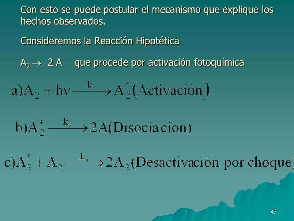 47 Con esto se puede postular el mecanismo que explique los hechos observados. Consideremos la Reacción Hipotética A 2 2 A que procede por activación