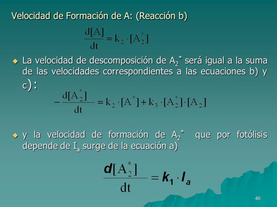 48 Velocidad de Formación de A: (Reacción b) La velocidad de descomposición de A 2 * será igual a la suma de las velocidades correspondientes a las ec