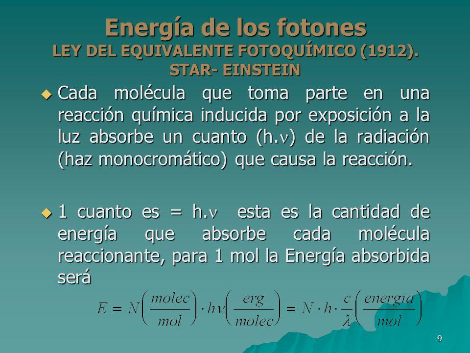 9 Energía de los fotones LEY DEL EQUIVALENTE FOTOQUÍMICO (1912). STAR- EINSTEIN Cada molécula que toma parte en una reacción química inducida por expo