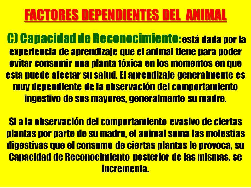 FACTORES DEPENDIENTES DEL ANIMAL C) Capacidad de Reconocimiento: está dada por la experiencia de aprendizaje que el animal tiene para poder evitar con