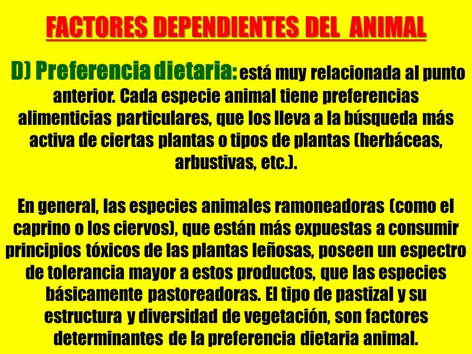 FACTORES DEPENDIENTES DEL ANIMAL D) Preferencia dietaria: está muy relacionada al punto anterior. Cada especie animal tiene preferencias alimenticias