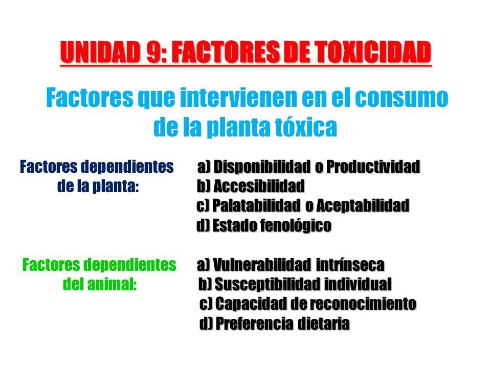 UNIDAD 9: FACTORES DE TOXICIDAD Factores que intervienen en el consumo de la planta tóxica a) Disponibilidad o Productividad Factores dependientes a)