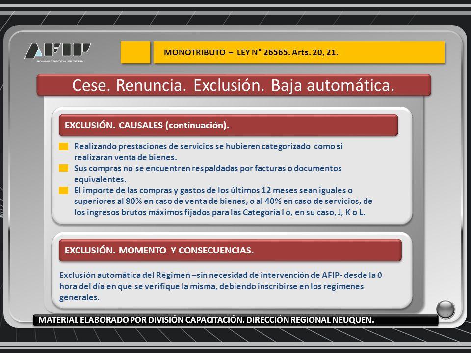 EXCLUSIÓN. CAUSALES (continuación). EXCLUSIÓN. MOMENTO Y CONSECUENCIAS. Exclusión automática del Régimen –sin necesidad de intervención de AFIP- desde