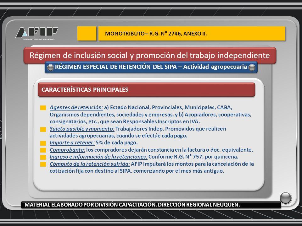 Régimen de inclusión social y promoción del trabajo independiente RÉGIMEN ESPECIAL DE RETENCIÓN DEL SIPA – Actividad agropecuaria CARACTERÍSTICAS PRIN