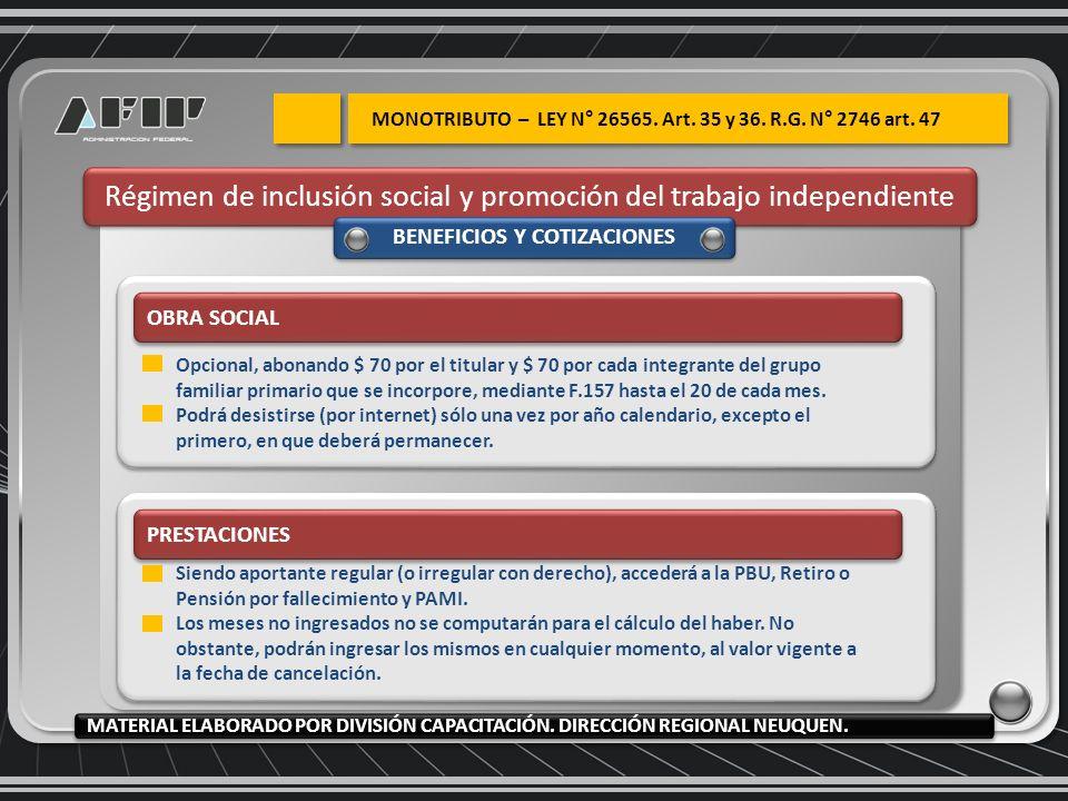 Régimen de inclusión social y promoción del trabajo independiente BENEFICIOS Y COTIZACIONES OBRA SOCIAL Opcional, abonando $ 70 por el titular y $ 70
