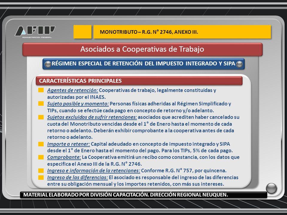 RÉGIMEN ESPECIAL DE RETENCIÓN DEL IMPUESTO INTEGRADO Y SIPA CARACTERÍSTICAS PRINCIPALES Agentes de retención: Cooperativas de trabajo, legalmente constituidas y autorizadas por el INAES.