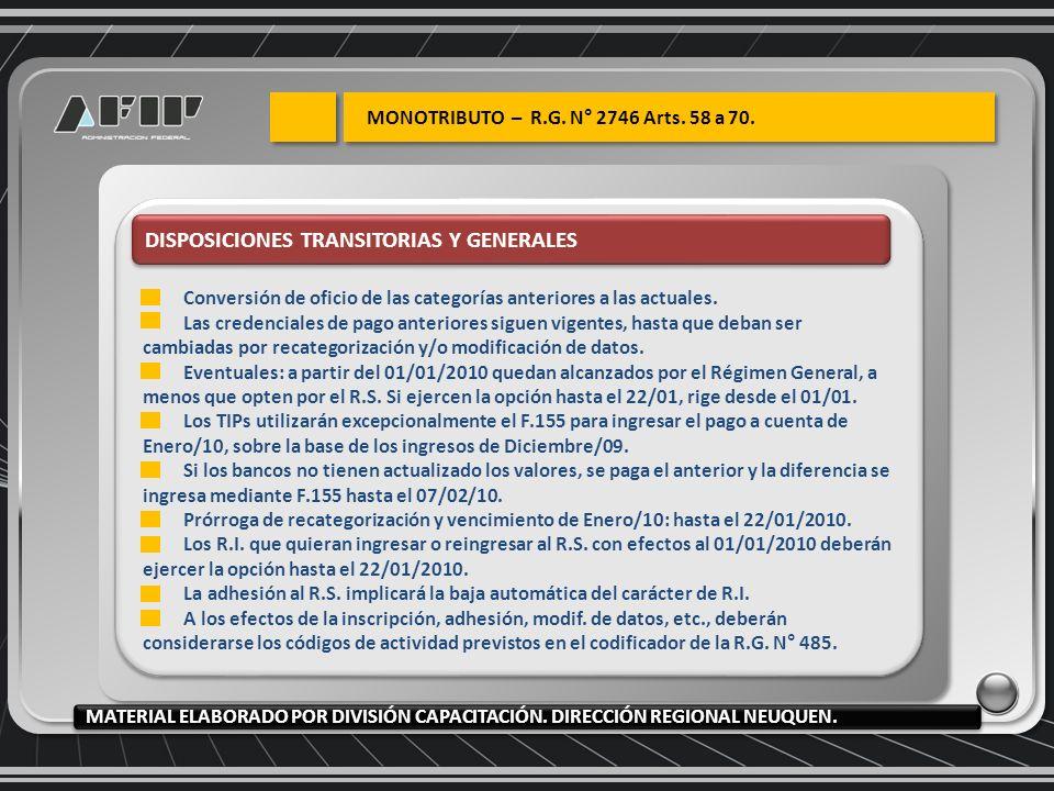 DISPOSICIONES TRANSITORIAS Y GENERALES Conversión de oficio de las categorías anteriores a las actuales.