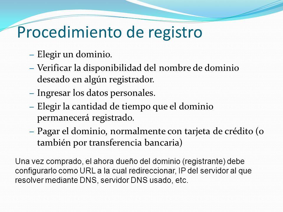 Procedimiento de registro – Elegir un dominio.