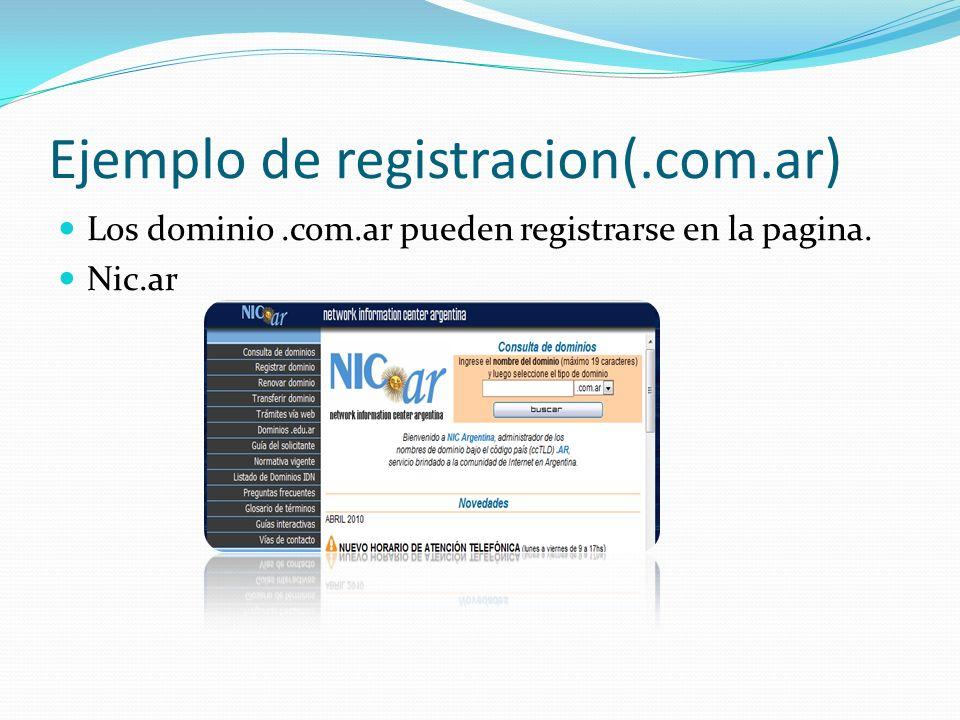 Ejemplo de registracion(.com.ar) Los dominio.com.ar pueden registrarse en la pagina. Nic.ar