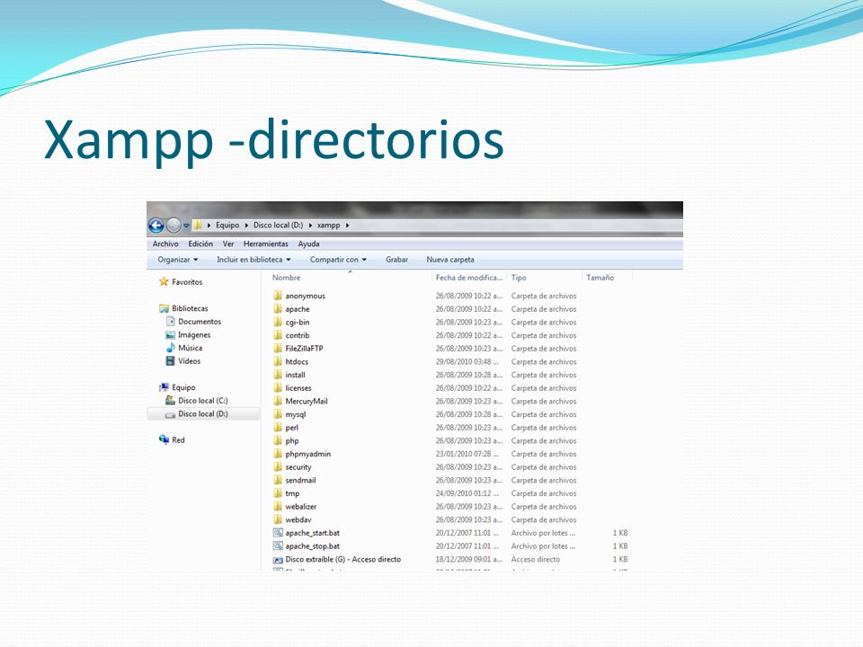 Xampp -directorios