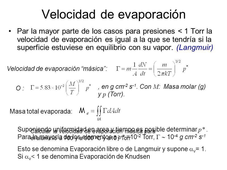 Velocidad de evaporación Par la mayor parte de los casos para presiones < 1 Torr la velocidad de evaporación es igual a la que se tendría si la superf