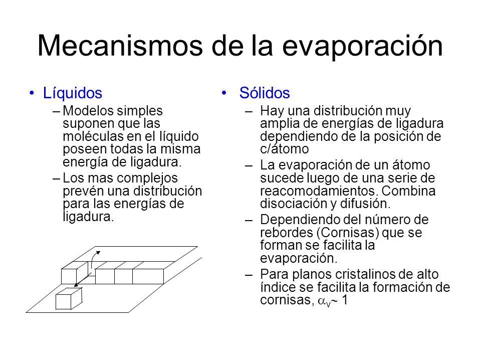 Mecanismos de la evaporación Líquidos –Modelos simples suponen que las moléculas en el líquido poseen todas la misma energía de ligadura. –Los mas com