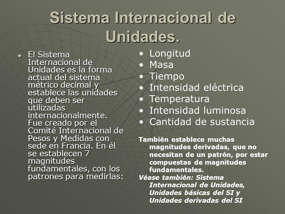 Sistema Internacional de Unidades. El Sistema Internacional de Unidades es la forma actual del sistema métrico decimal y establece las unidades que de