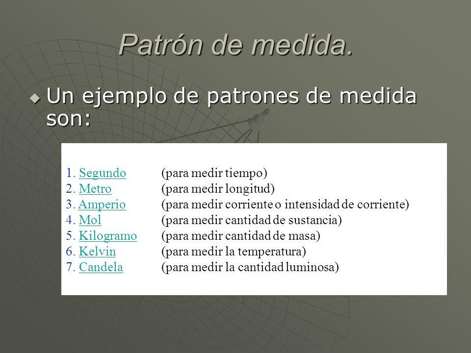 Patrón de medida. Un ejemplo de patrones de medida son: Un ejemplo de patrones de medida son: 1. SegundoSegundo 2. MetroMetro 3. AmperioAmperio 4. Mol