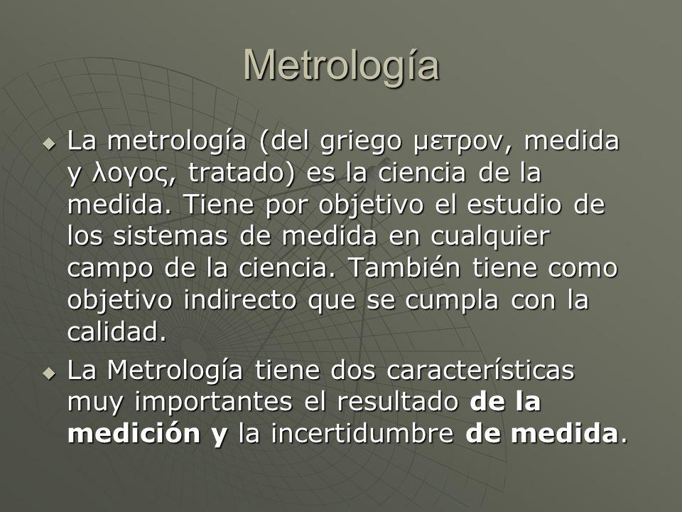 Metrología La metrología (del griego μετρoν, medida y λoγoς, tratado) es la ciencia de la medida. Tiene por objetivo el estudio de los sistemas de med