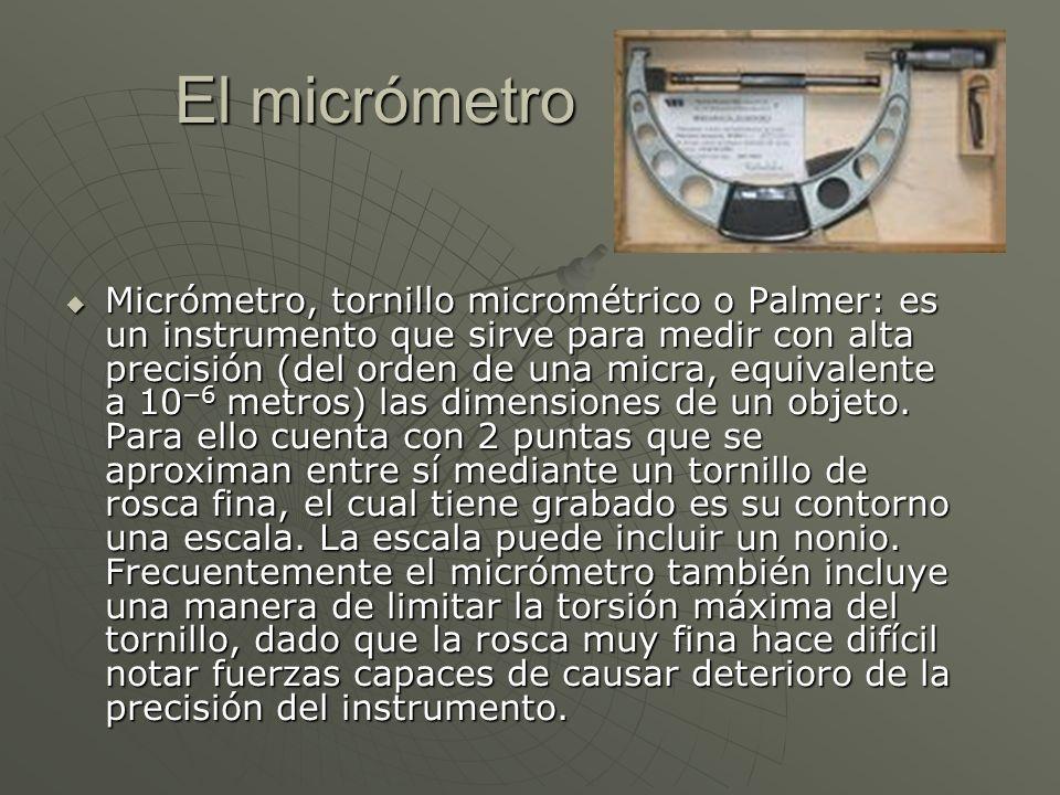 El micrómetro Micrómetro, tornillo micrométrico o Palmer: es un instrumento que sirve para medir con alta precisión (del orden de una micra, equivalen