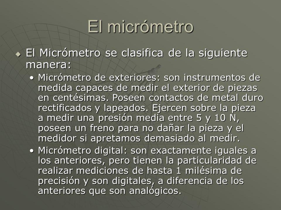 El Micrómetro se clasifica de la siguiente manera: El Micrómetro se clasifica de la siguiente manera: Micrómetro de exteriores: son instrumentos de me