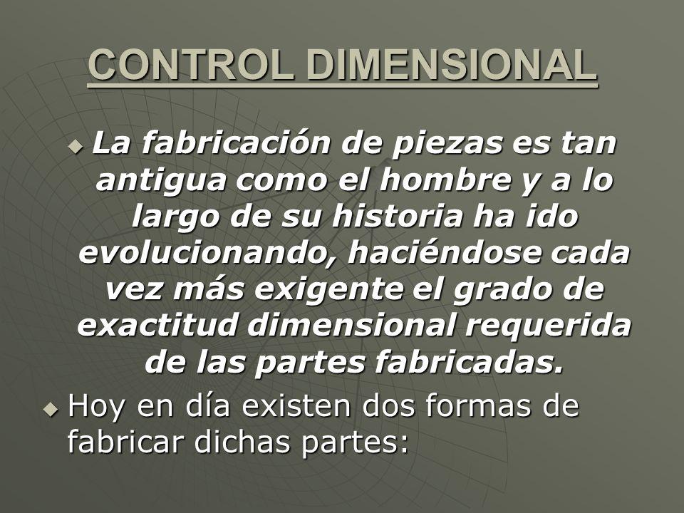 CONTROL DIMENSIONAL La fabricación de piezas es tan antigua como el hombre y a lo largo de su historia ha ido evolucionando, haciéndose cada vez más e