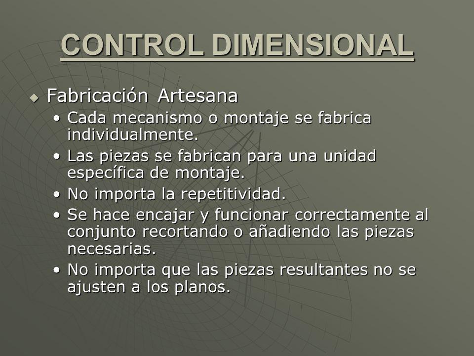 CONTROL DIMENSIONAL Fabricación Artesana Fabricación Artesana Cada mecanismo o montaje se fabrica individualmente.Cada mecanismo o montaje se fabrica