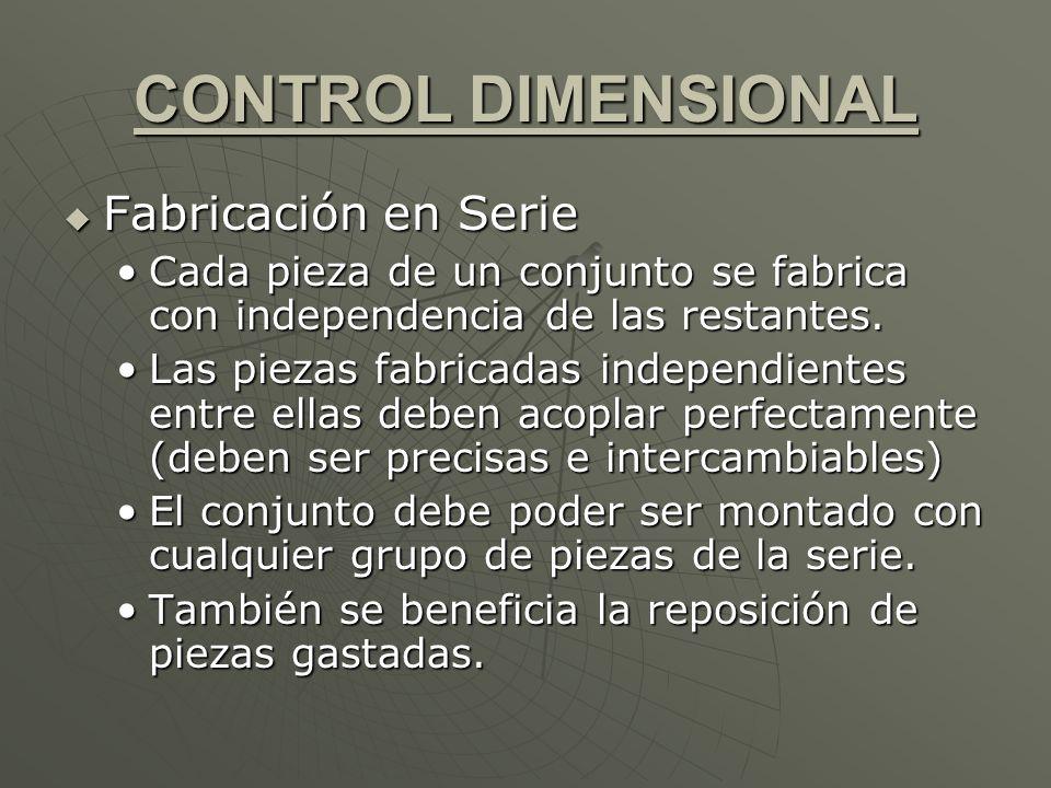 CONTROL DIMENSIONAL Fabricación en Serie Fabricación en Serie Cada pieza de un conjunto se fabrica con independencia de las restantes.Cada pieza de un