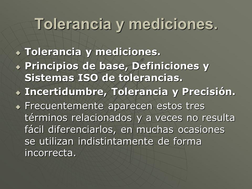 Tolerancia y mediciones. Tolerancia y mediciones. Tolerancia y mediciones. Principios de base, Definiciones y Sistemas ISO de tolerancias. Principios
