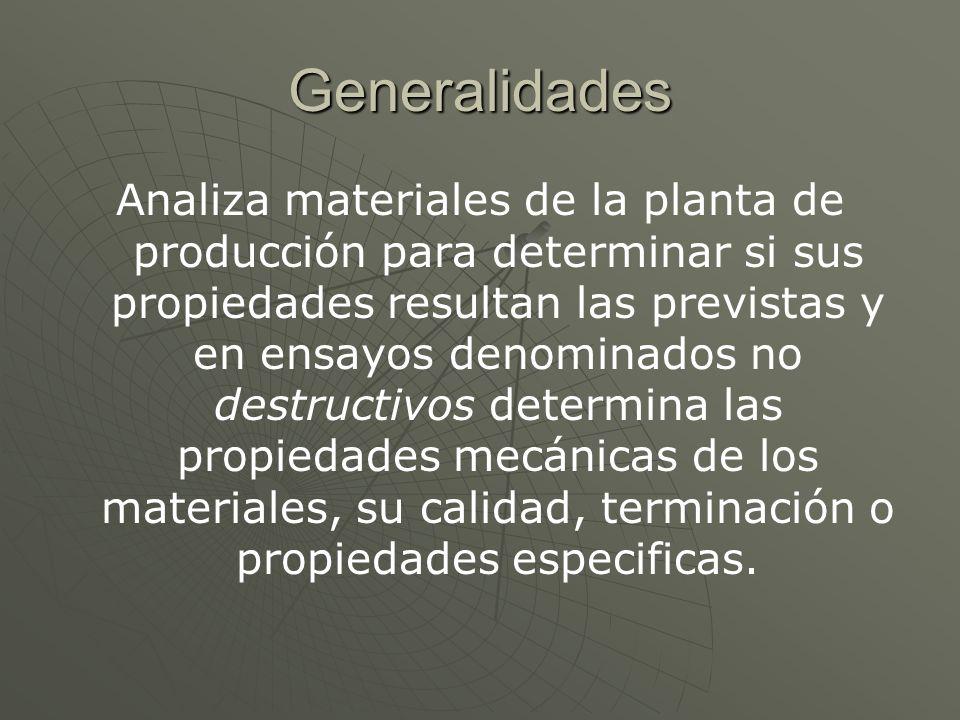 Generalidades Analiza materiales de la planta de producción para determinar si sus propiedades resultan las previstas y en ensayos denominados no dest