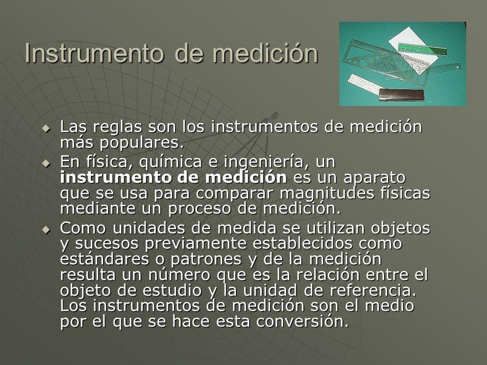 Instrumento de medición Las reglas son los instrumentos de medición más populares. Las reglas son los instrumentos de medición más populares. En físic
