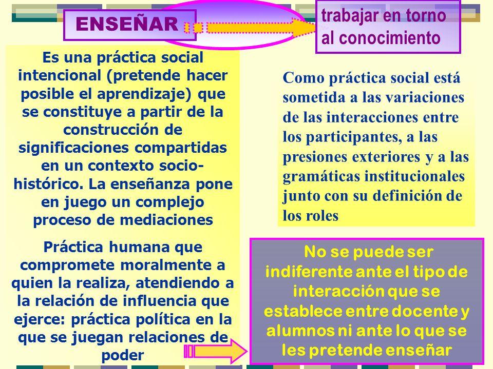 Es una práctica social intencional (pretende hacer posible el aprendizaje) que se constituye a partir de la construcción de significaciones compartida
