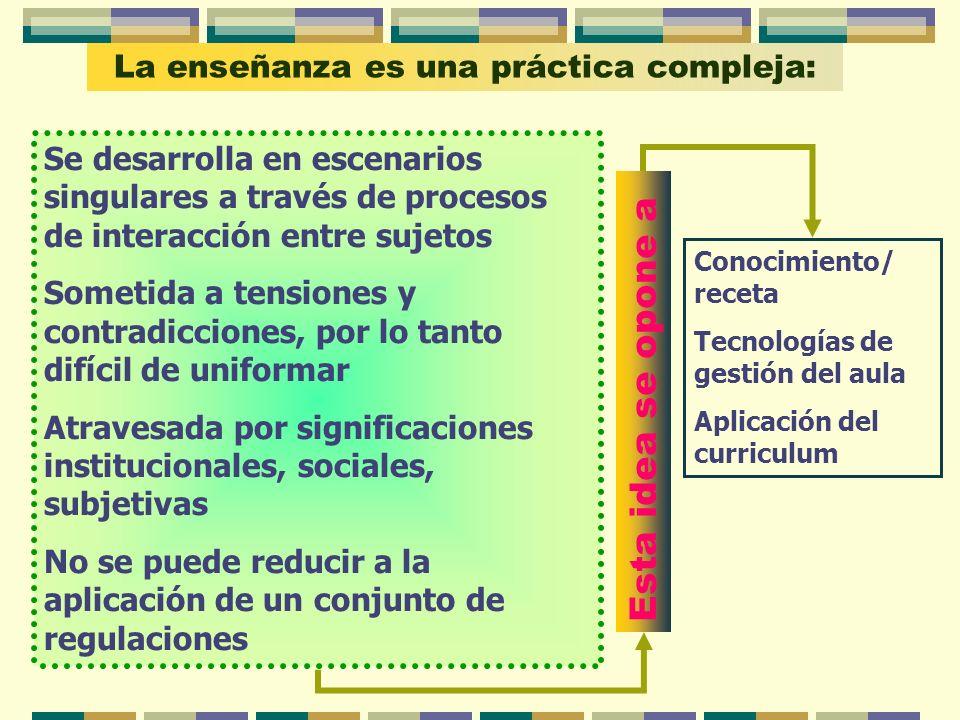 La enseñanza es una práctica compleja: Se desarrolla en escenarios singulares a través de procesos de interacción entre sujetos Sometida a tensiones y