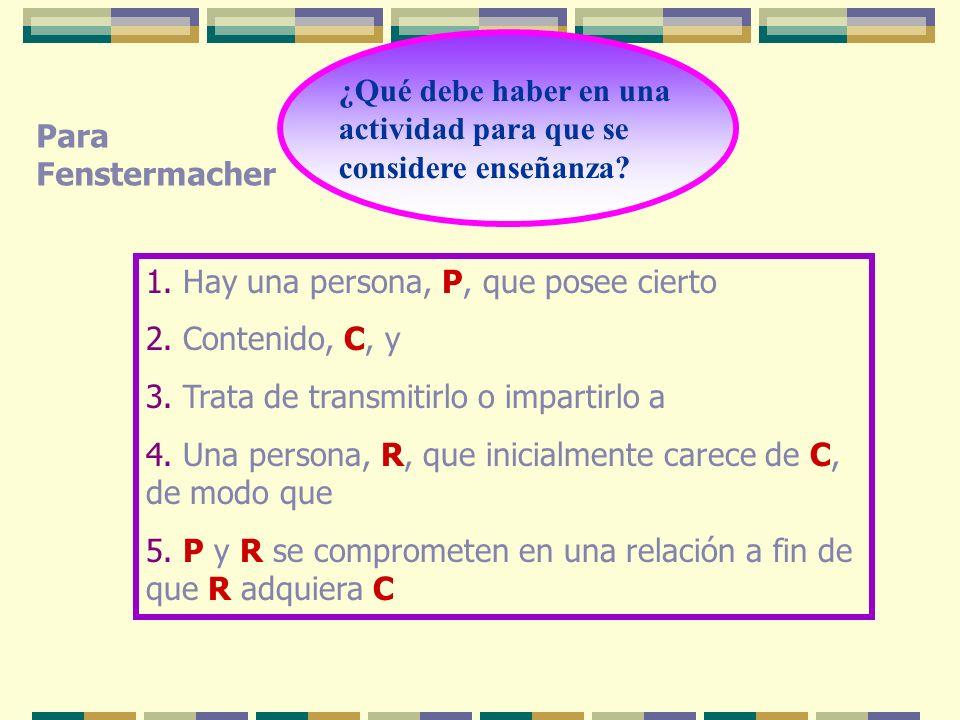 ¿Qué debe haber en una actividad para que se considere enseñanza? 1. Hay una persona, P, que posee cierto 2. Contenido, C, y 3. Trata de transmitirlo