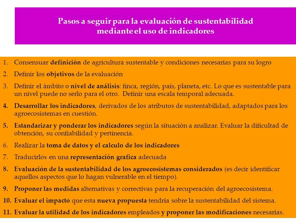 Pasos a seguir para la evaluación de sustentabilidad mediante el uso de indicadores 1.Consensuar definición de agricultura sustentable y condiciones n