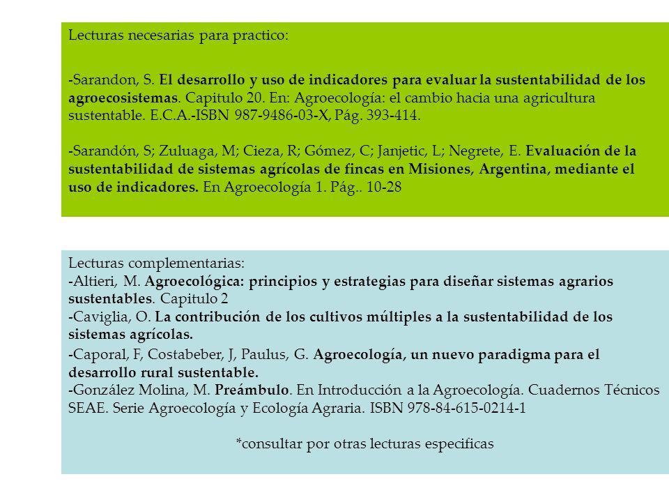 Lecturas necesarias para practico: -Sarandon, S. El desarrollo y uso de indicadores para evaluar la sustentabilidad de los agroecosistemas. Capitulo 2