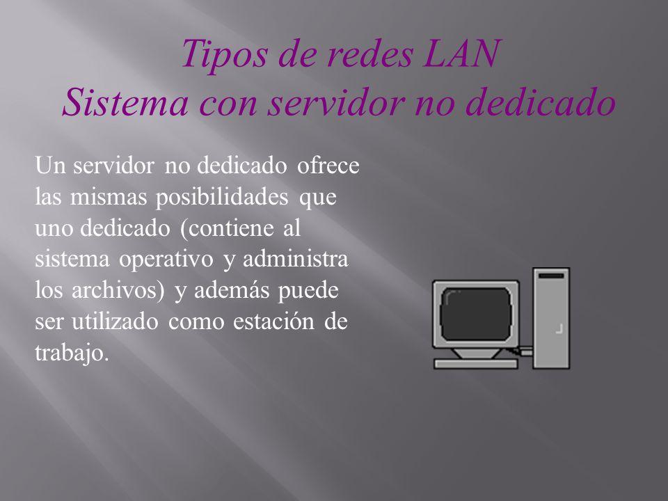 Tipos de redes LAN Sistema con servidor no dedicado Un servidor no dedicado ofrece las mismas posibilidades que uno dedicado (contiene al sistema oper