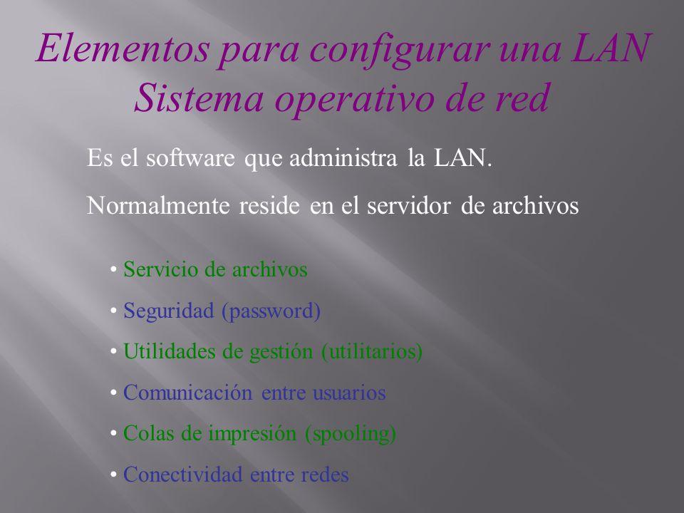 Elementos para configurar una LAN Sistema operativo de red Es el software que administra la LAN. Normalmente reside en el servidor de archivos Servici