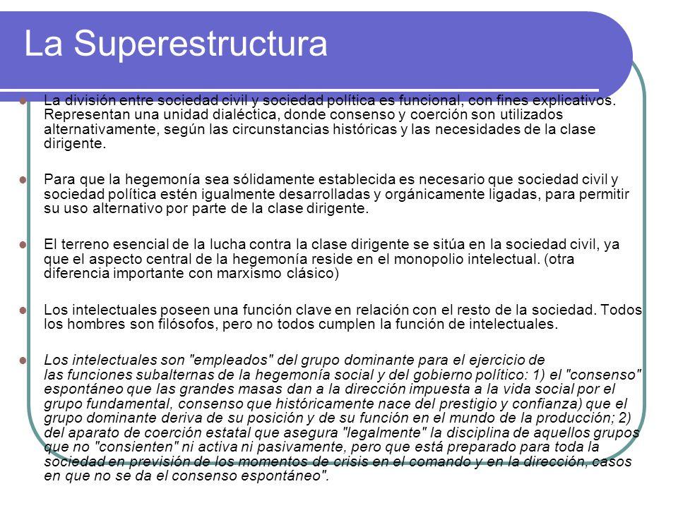 La Superestructura La división entre sociedad civil y sociedad política es funcional, con fines explicativos. Representan una unidad dialéctica, donde