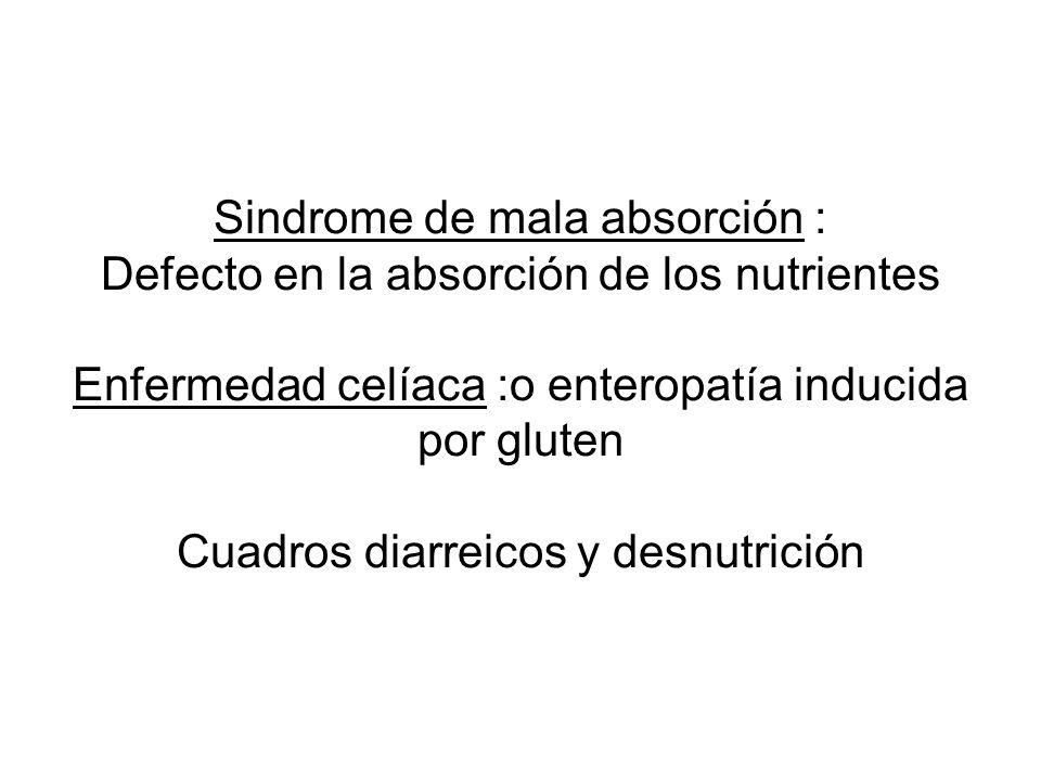 Sindrome de mala absorción : Defecto en la absorción de los nutrientes Enfermedad celíaca :o enteropatía inducida por gluten Cuadros diarreicos y desn