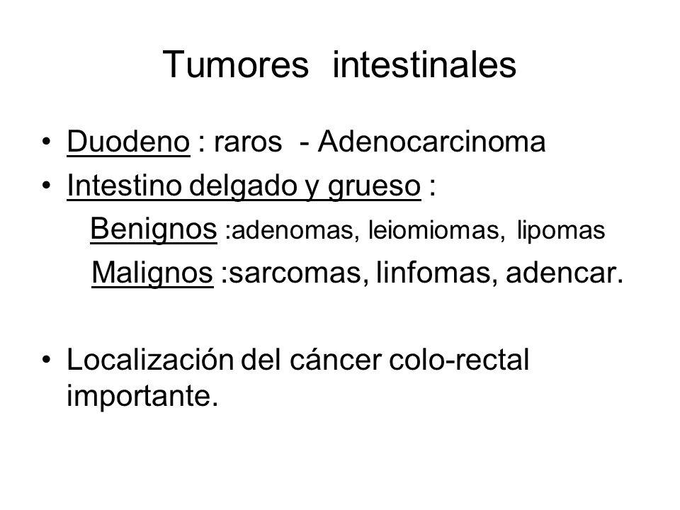 Tumores intestinales Duodeno : raros - Adenocarcinoma Intestino delgado y grueso : Benignos :adenomas, leiomiomas, lipomas Malignos :sarcomas, linfoma