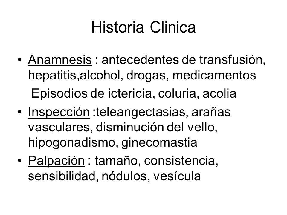 Historia Clinica Anamnesis : antecedentes de transfusión, hepatitis,alcohol, drogas, medicamentos Episodios de ictericia, coluria, acolia Inspección :