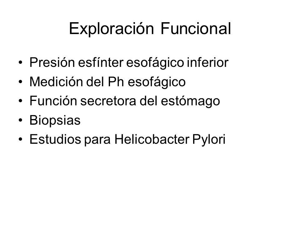 Exploración Funcional Presión esfínter esofágico inferior Medición del Ph esofágico Función secretora del estómago Biopsias Estudios para Helicobacter