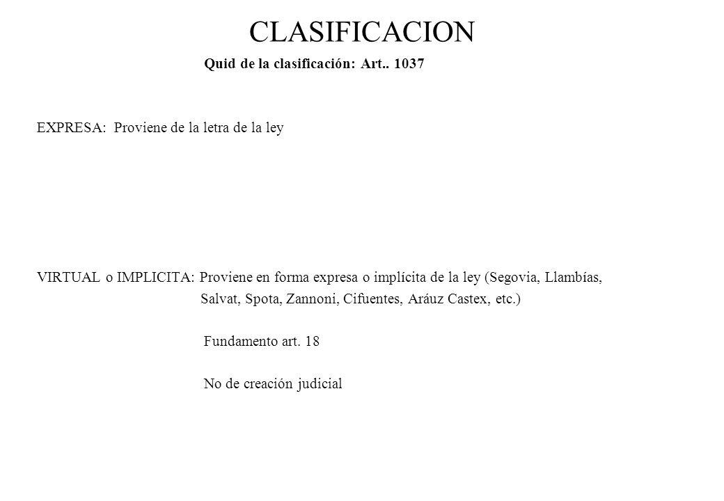 CLASIFICACION Quid de la clasificación: Art.. 1037 EXPRESA: Proviene de la letra de la ley VIRTUAL o IMPLICITA: Proviene en forma expresa o implícita
