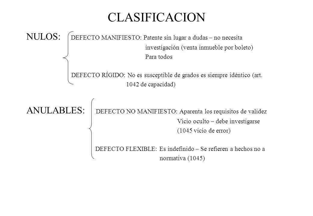 CLASIFICACION NULOS: DEFECTO MANIFIESTO: Patente sin lugar a dudas – no necesita investigación (venta inmueble por boleto) Para todos DEFECTO RÍGIDO: