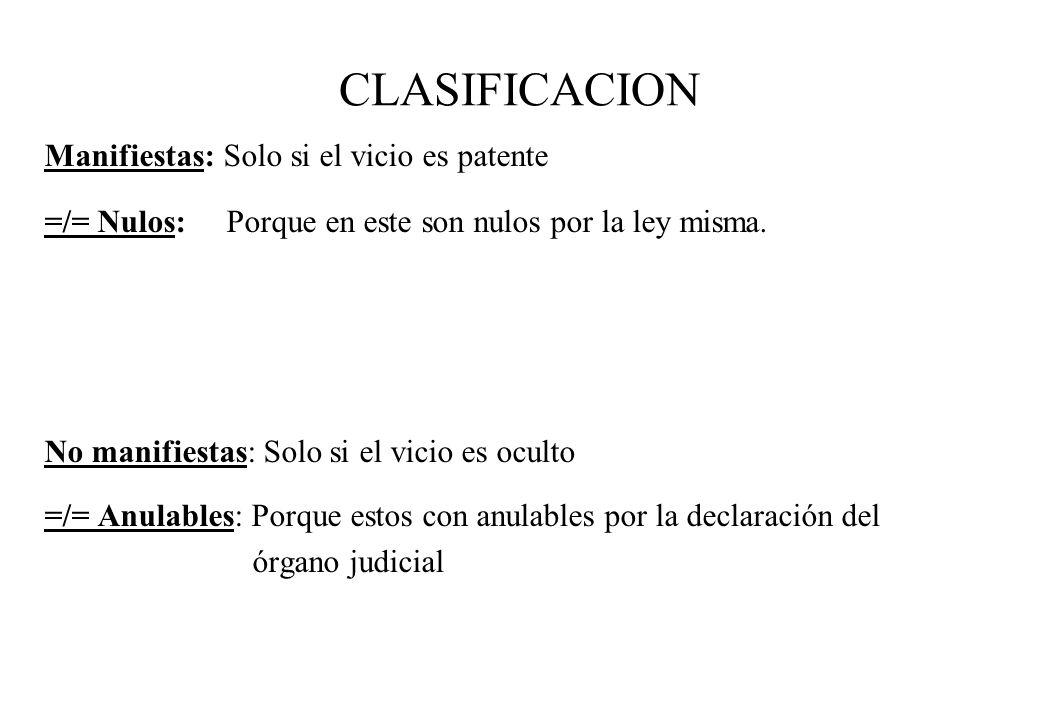 CLASIFICACION Manifiestas: Solo si el vicio es patente =/= Nulos: Porque en este son nulos por la ley misma. No manifiestas: Solo si el vicio es ocult